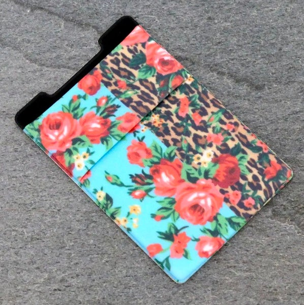 Leopard Floral Mix Adhesive Phone Pocket