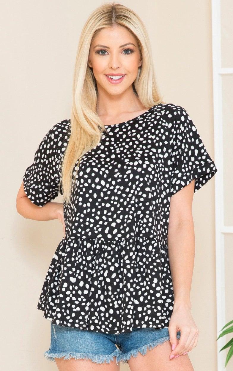 PLUS Black Leopard Short Sleeve Pleated Waist Top