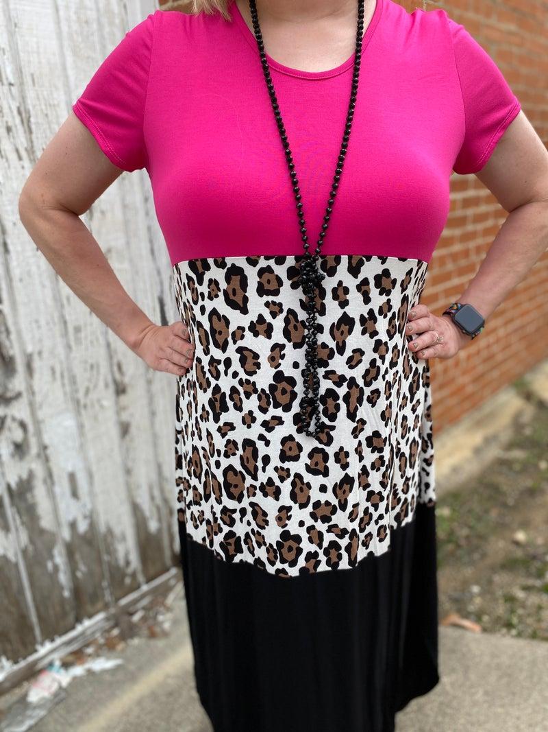Pink Black & Leopard Colorblock Maxi Dress