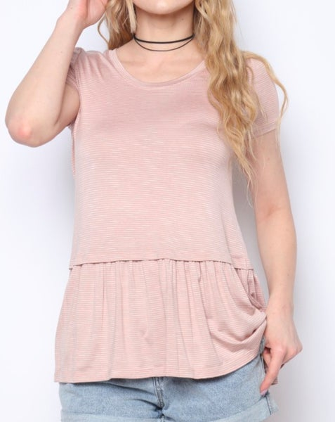 Dusty Rose Striped Knit Top