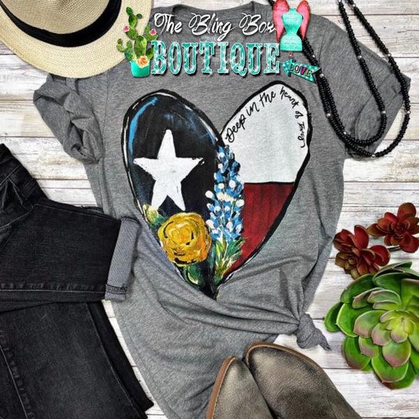 Deep In The Heart of Texas V-Neck Grey Tee