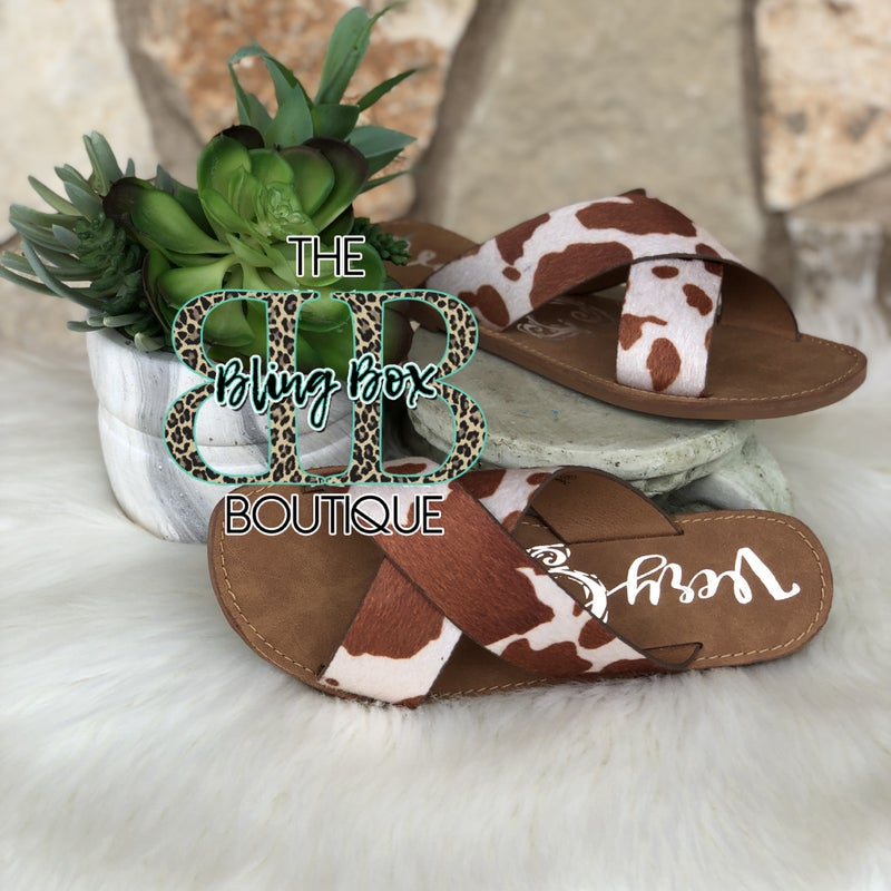 Very G Seaside Brown & Cream Cow Print Sandal