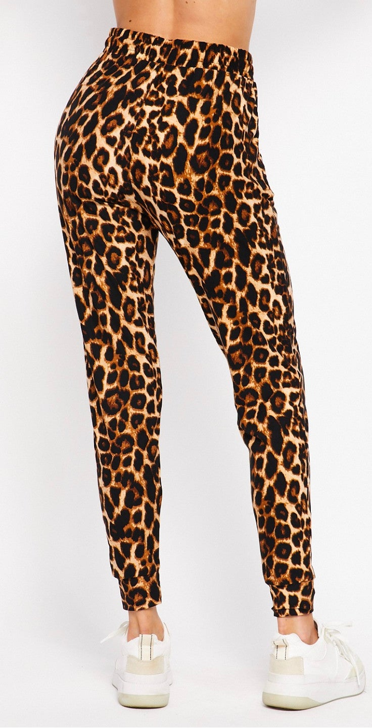 Leopard Print Joggers with Pockets