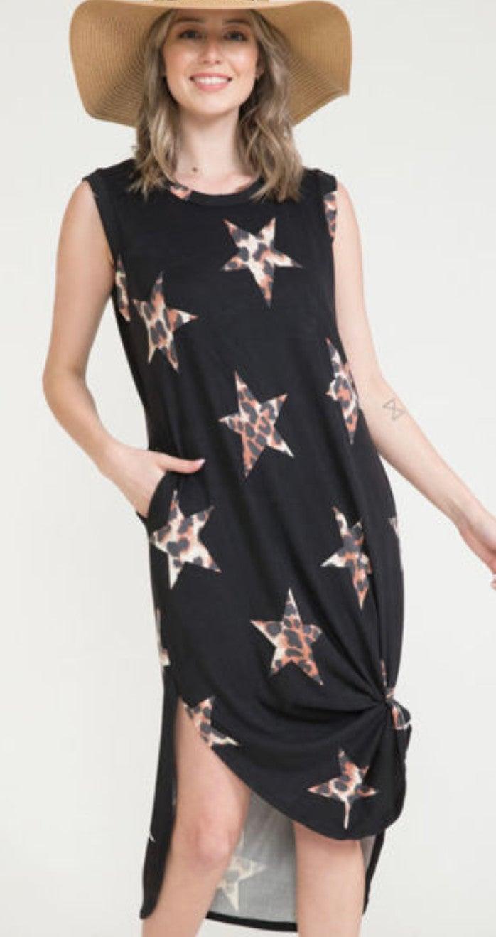Leopard Star Print Black Sleeveless Maxi Dress
