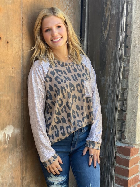Bling Sleeve Taupe Leopard Top