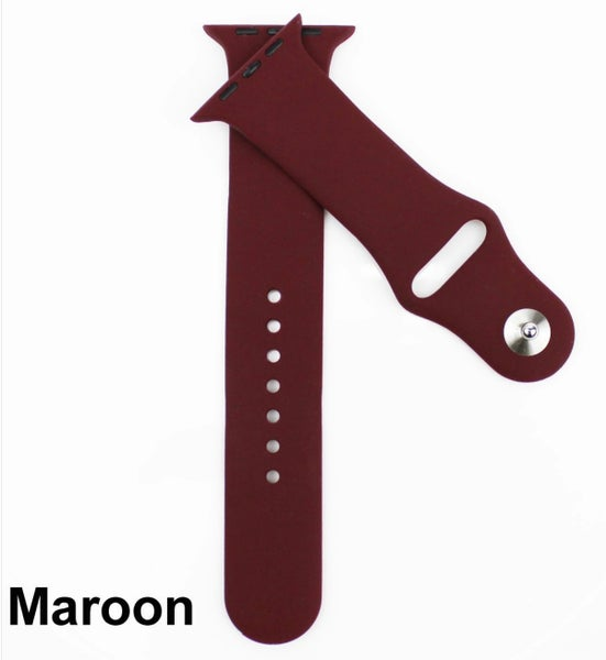Maroon Solid Silicone Bands for Apple Watch 42/44 mm