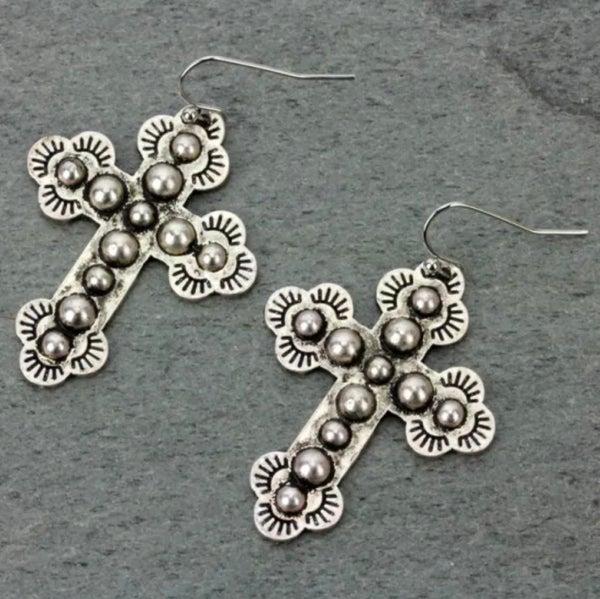 """1.5"""" Silver Bali Style Earrings"""