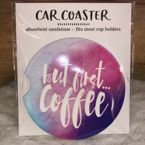 But First Coffee Sandstone Car Coaster