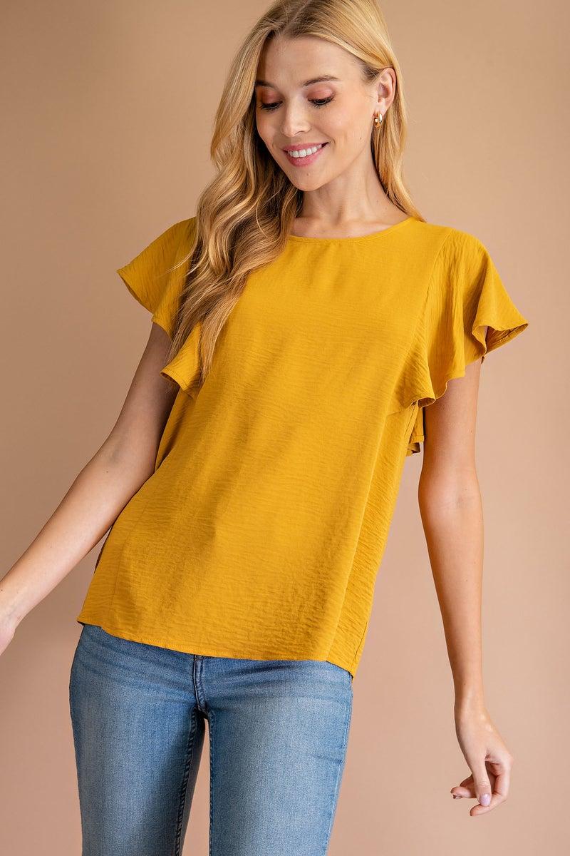 Mustard Short Sleeve Ruffle Sleeve Blouse