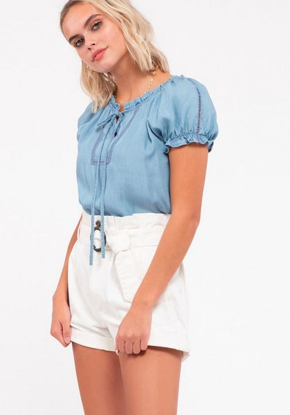 Peasant Chambray Puff Sleeve Top