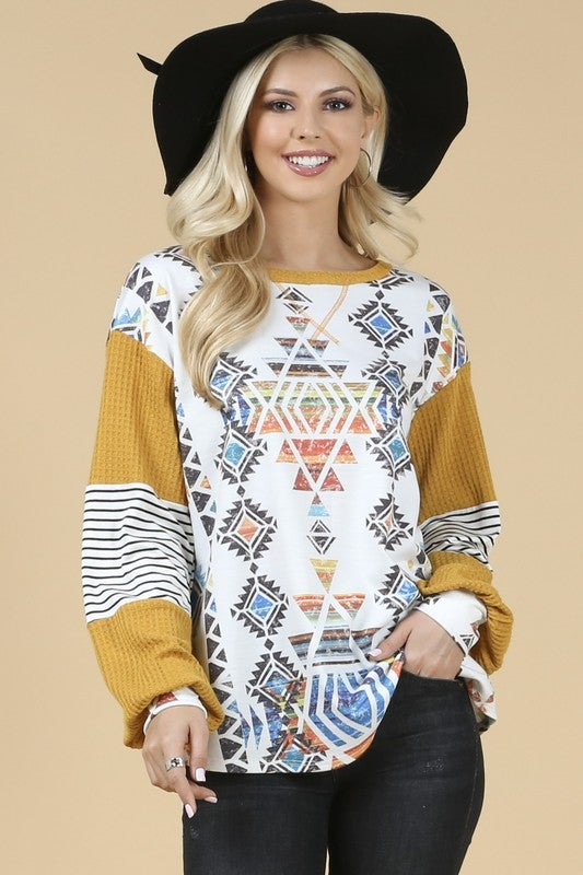 Mustard Long Sleeve Aztec Print Top