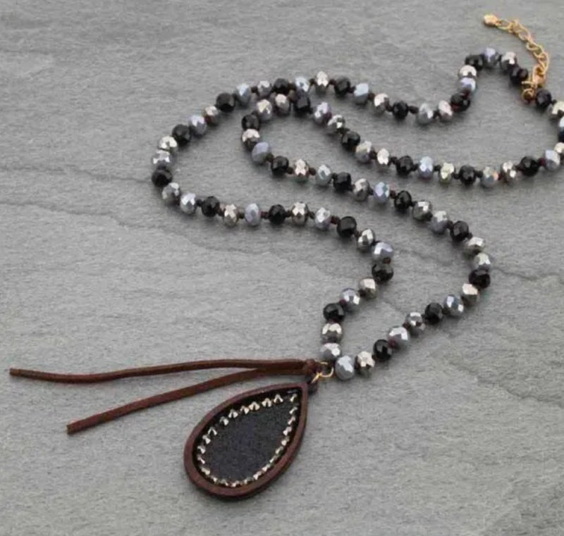 "Teardrop Black Glitter 30"" Crystal Necklace"