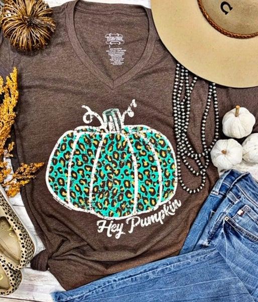 Hey Pumpkin Turquoise Leopard MochaT-Shirt