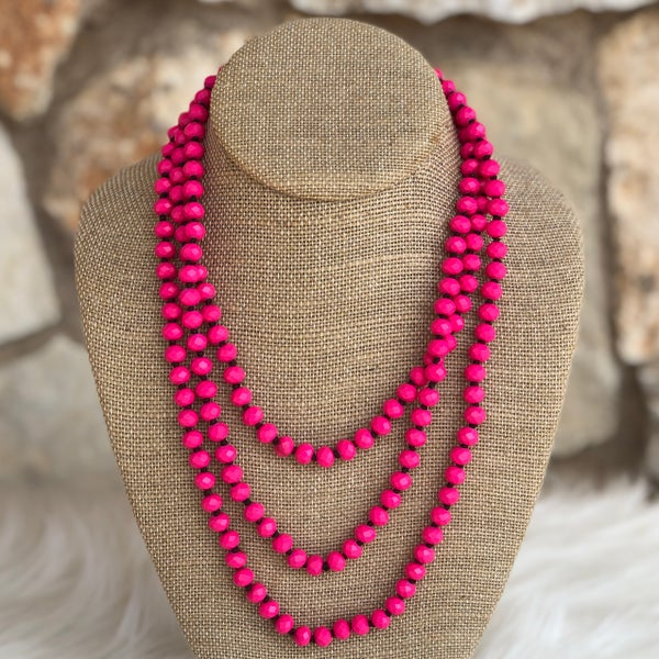 "Hot Pink 60"" Crystal Necklace"