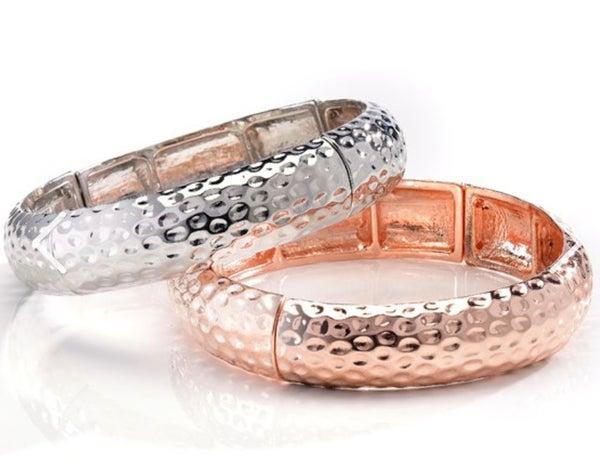 Rose Gold Hammered Stretch Bangle Bracelet