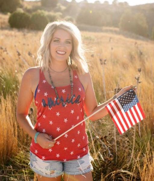 America Glitter Red Stars Tank Top