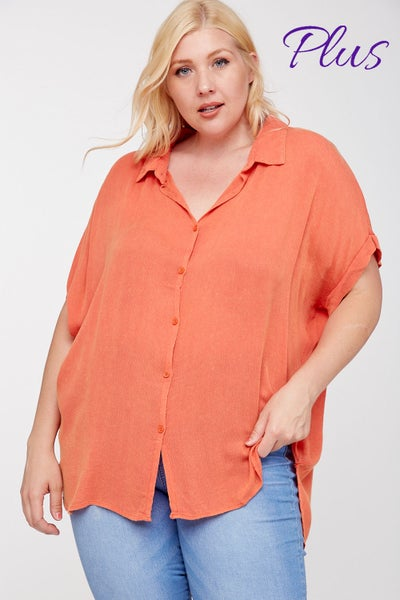 PLUS Orange Hi Low V-Neck Relaxed Fit Top