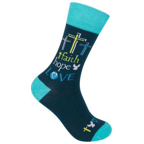 Faith Hope Love Teal Crazy Socks