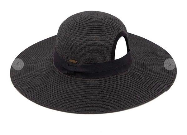 Black C.C Paper Straw Wide Brim Hat with Ponytail Opening