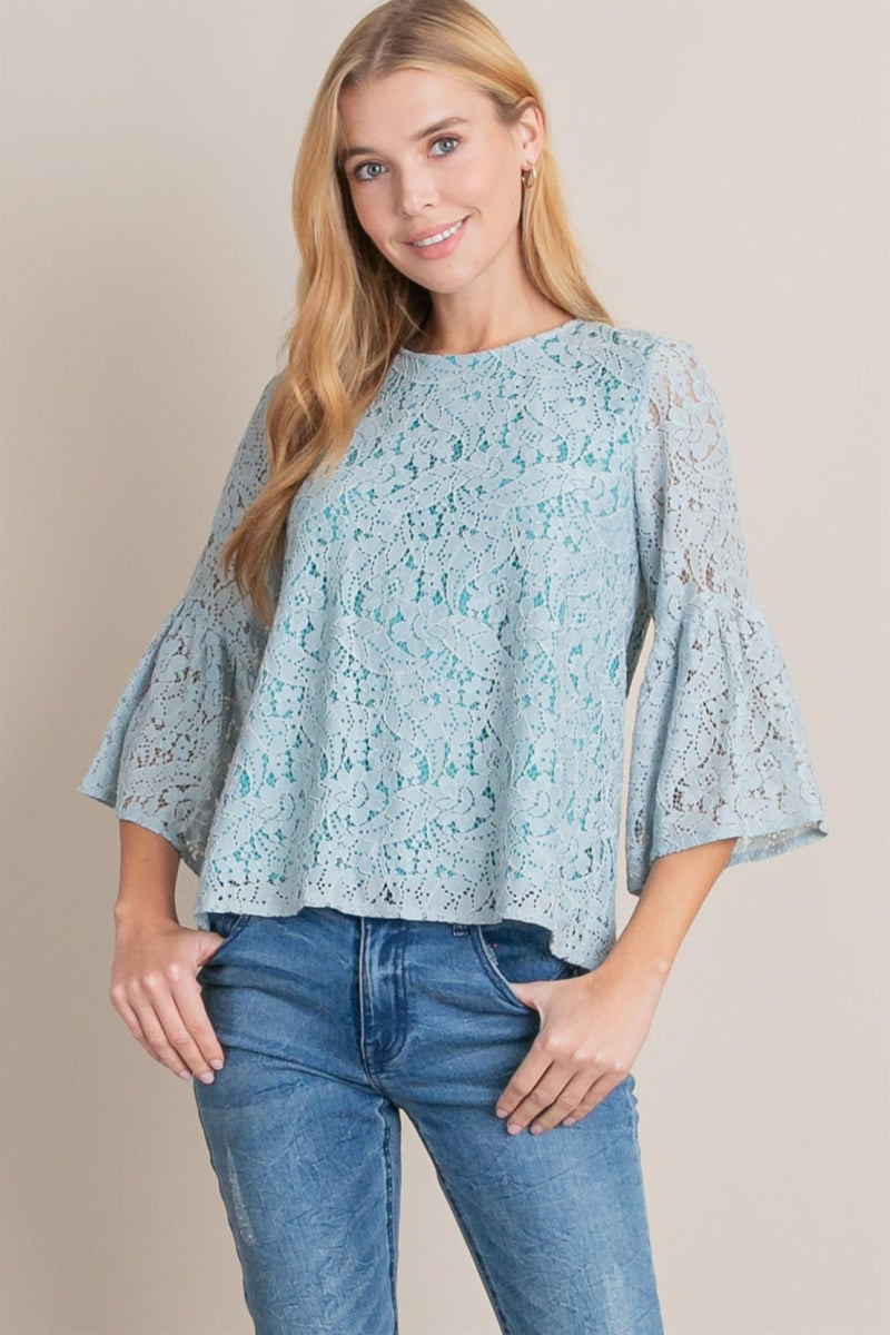 Blue Lace with Teal Lining Top