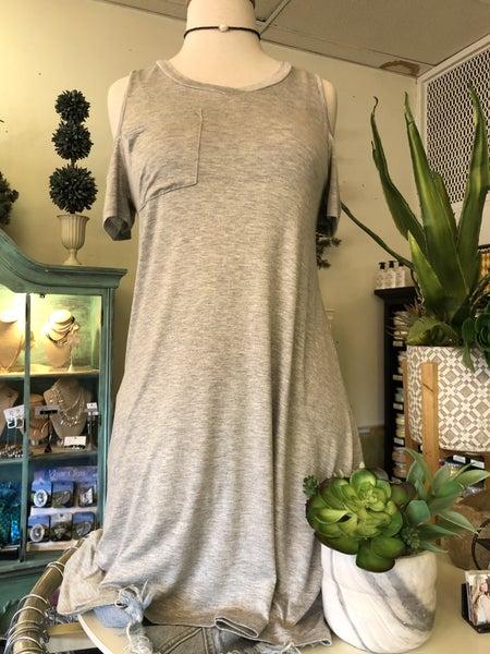 Heather Grey Cold Shoulder Dress