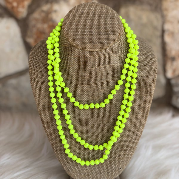 "Neon Yellow 60"" Crystal Necklace"
