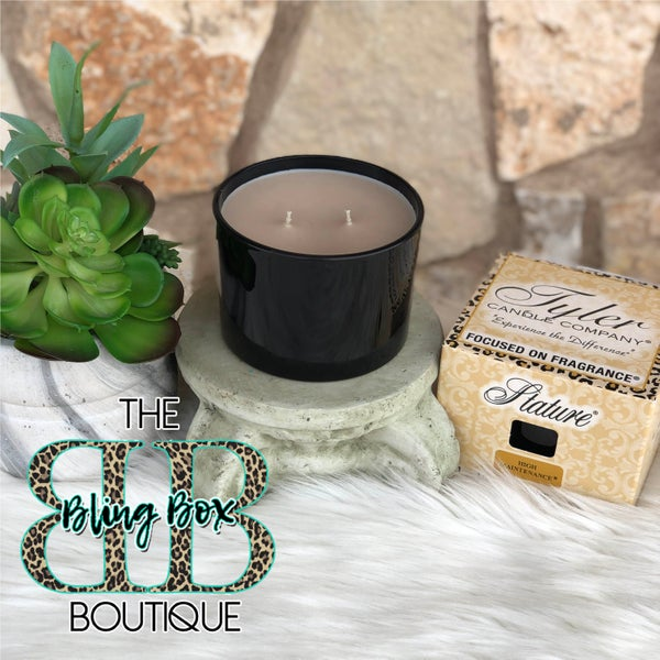 Tyler 16 Oz High Maintenance Glossy Black 2 Wick Stature Candle