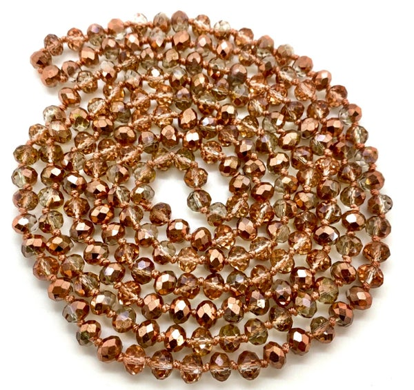 "Rose Gold Crystal Knotted 60"" Long Necklace"