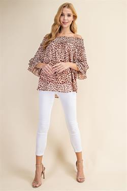 Blush Leopard Off Shoulder Smocked Top