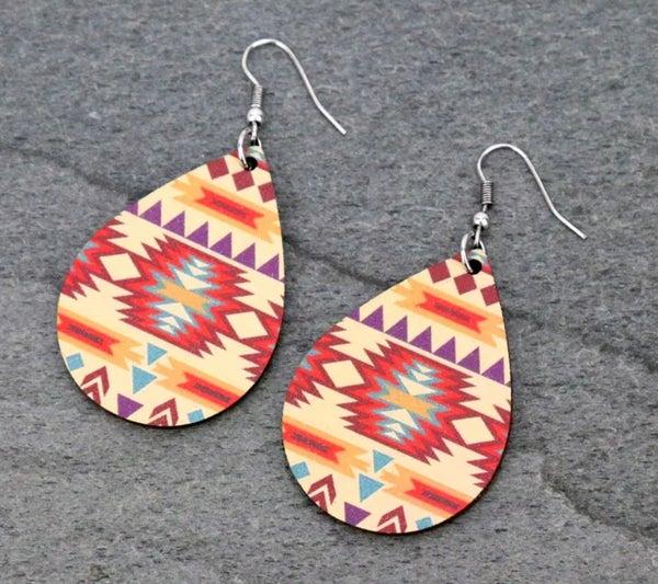Cream Multi Aztec Wood Teardrop Earrings