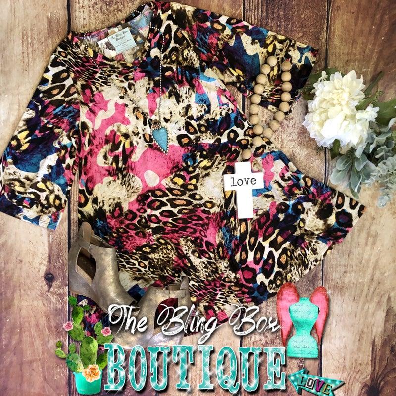 Fuchsia Leopard Print Swing Dress with Pockets