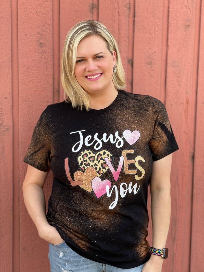 Black Bleached Jesus Loves You Tee