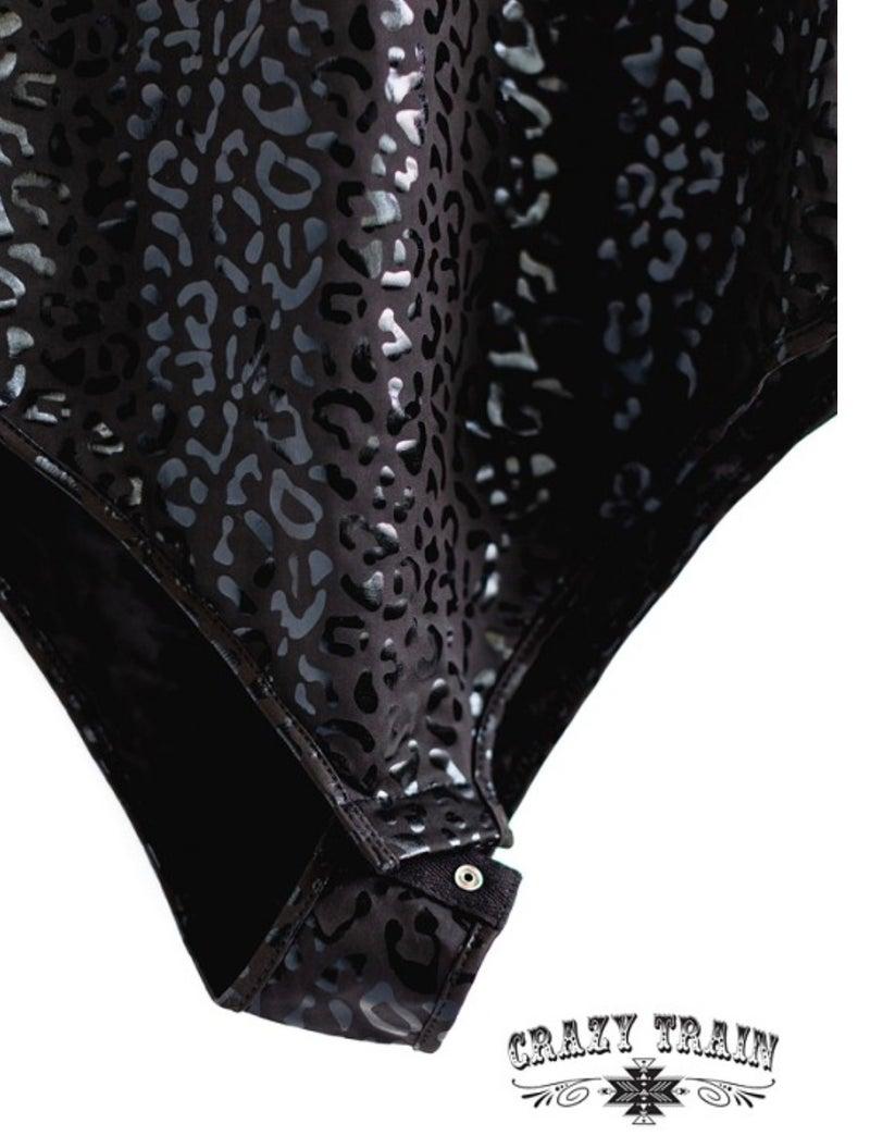 Feline Fine Black Leopard Bodysuit