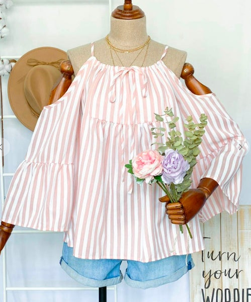 Pink & White Striped Cold Shoulder Bell Sleeve Top