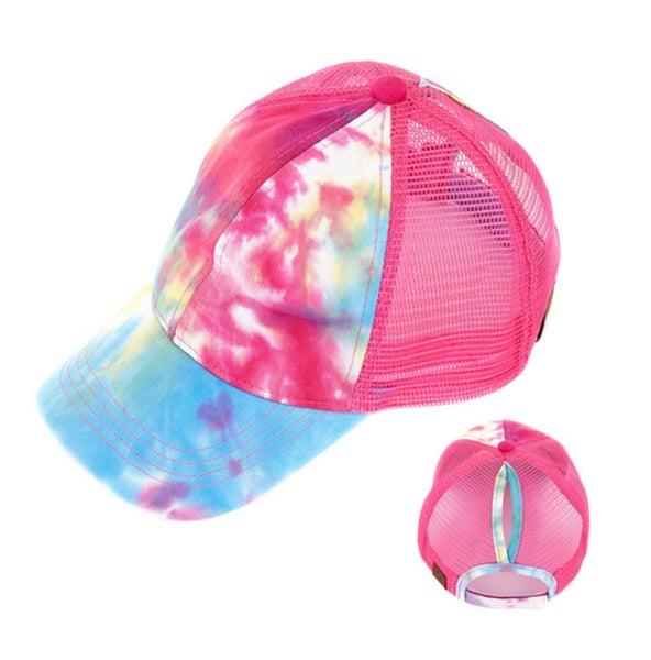 Hot Pink Tie Dyed Pony Trucker Cap