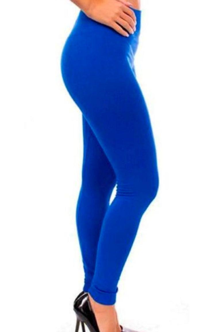Royal Blue Fleece Leggings - ONE SIZE