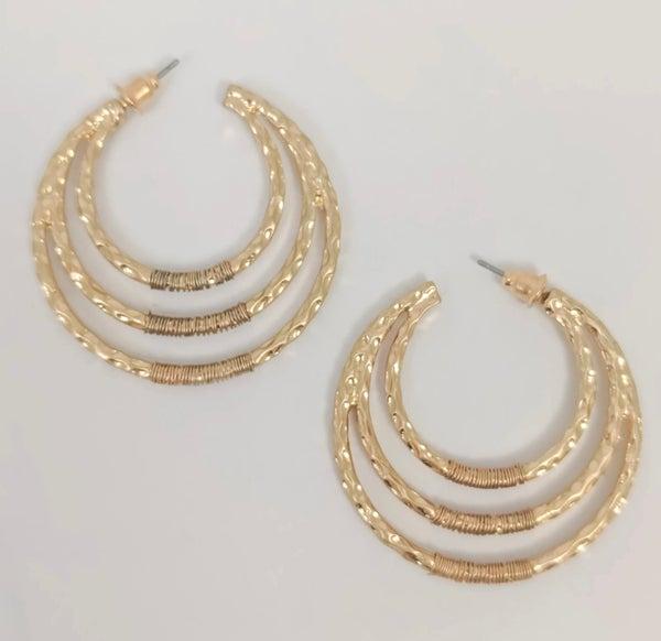 Destiny Gold 3 Hoop Post Earrings