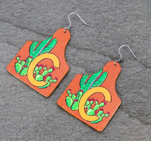 """C"" Initial Cactus Leather Ear Tag Earrings"