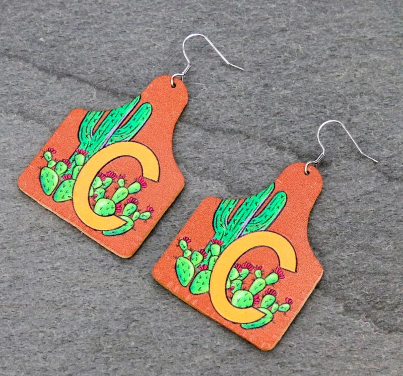"""""""C"""" Initial Cactus Leather Ear Tag Earrings"""