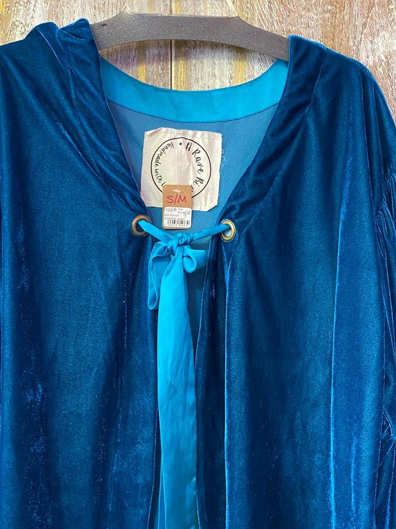 Teal Velvet Satin Ribbon Adjustable Jacket
