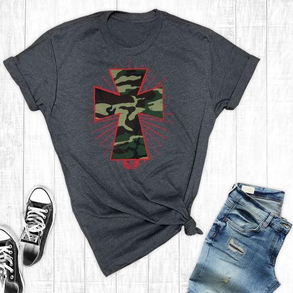 Camo Cross Charcoal Graphic T-Shirt