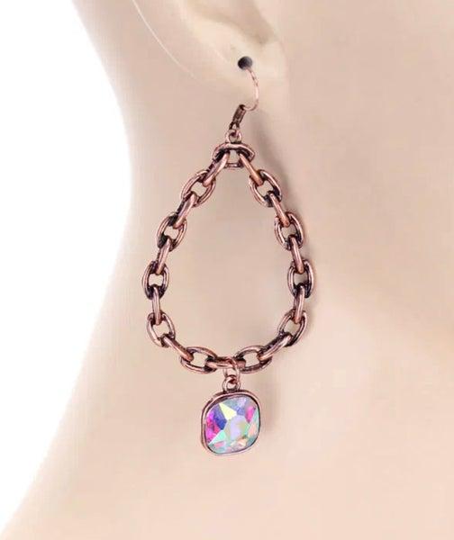 Bronze Chain Teardrop AB Earrings