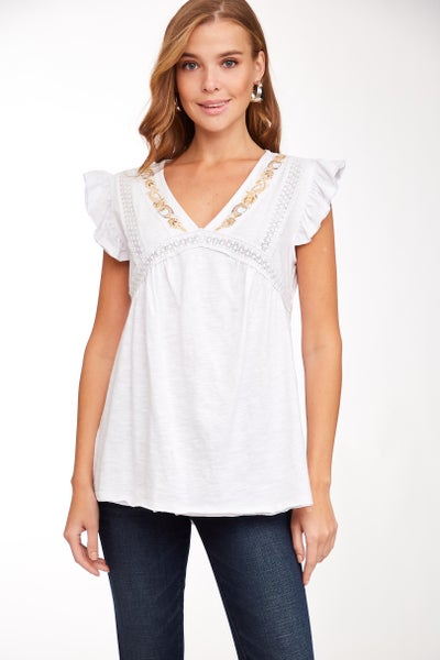 White Embroidered Lace Trim V-Neck Top