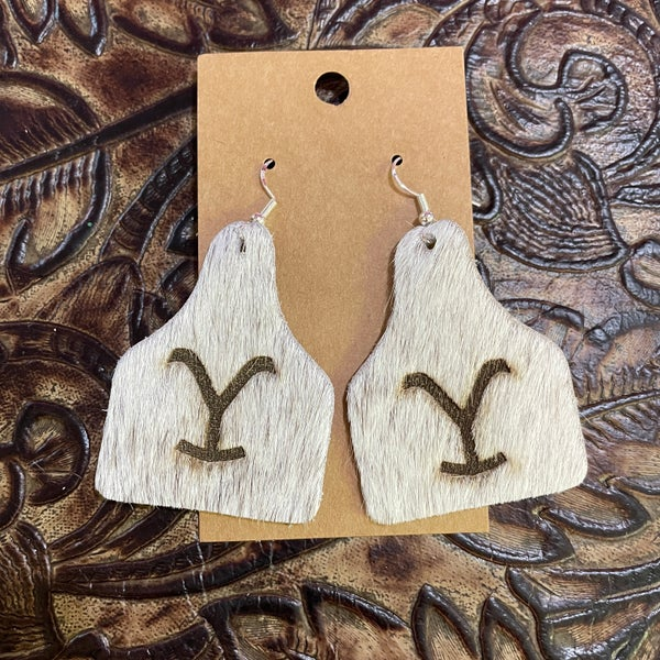 Yellowstone Brindle Branded Leather Cow Tag Earrings #2