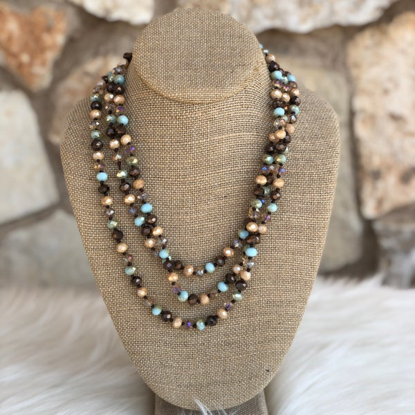 "Natural Light Blue Bronze Mix 60"" Crystal Necklace"