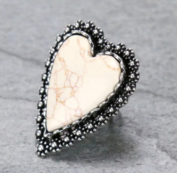 Large White Marble Heart Ring