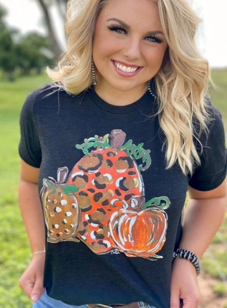 Callie's Leopard Pumpkin Crew Neck Tee