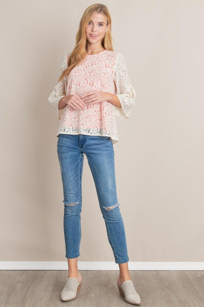 Cream Lace with Coral Lining Top