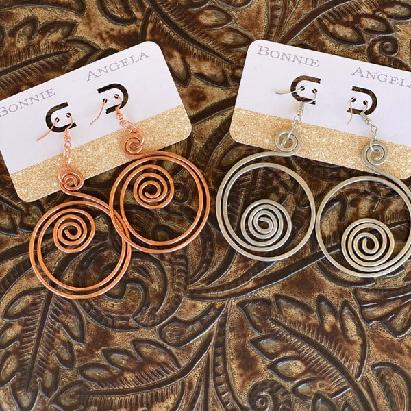 Rose Gold Round Swirl Bonnie Angela Hand Made Earrings