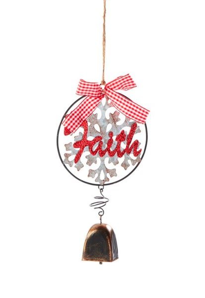 Faith Snowflake Cow Bell Ornament